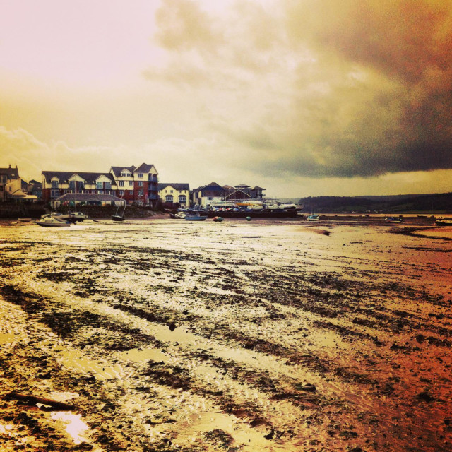"""""""Stormy day on the exe estuary, exmouth"""" stock image"""