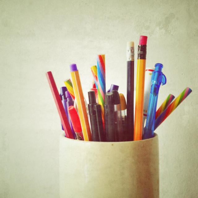 """""""Pens and pencils"""" stock image"""