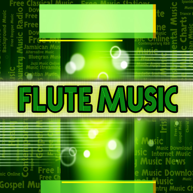"""""""Flute Music Shows Sound Track And Acoustic"""" stock image"""