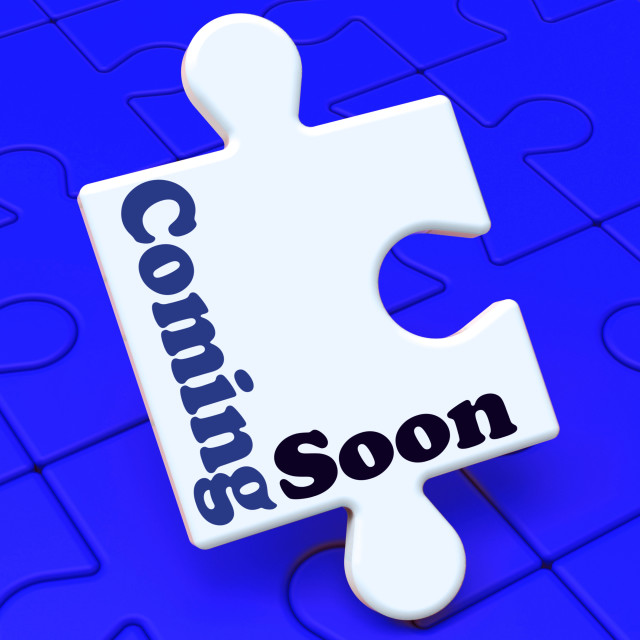 """Coming Soon Puzzle Shows New Arrival Or Promotion Product"" stock image"