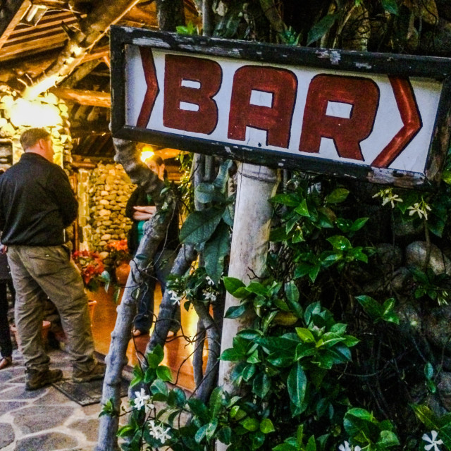 """Bar sign at hotel, Lake Atitlan, Guatemala"" stock image"