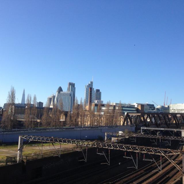 """London skyline from Shoreditch"" stock image"
