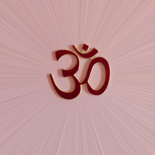 """Hindu religious symbol Om or Aum signifying oneness"" stock image"