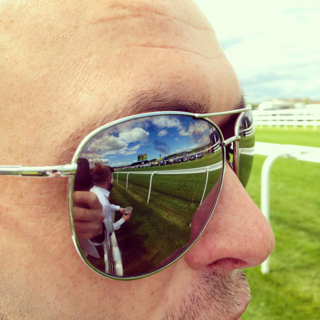 """""""Reflection of Musselburgh racecourse in aviator sunglasses"""" stock image"""