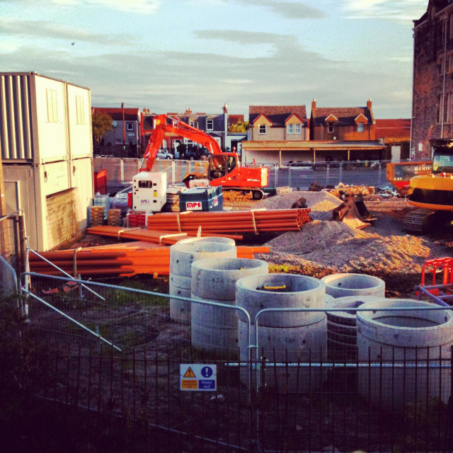 """""""Building site of extension to School"""" stock image"""
