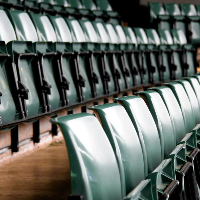"""Wimbledon Tennis, London. Scenic view of the empty standards before the tournament begins."" stock image"