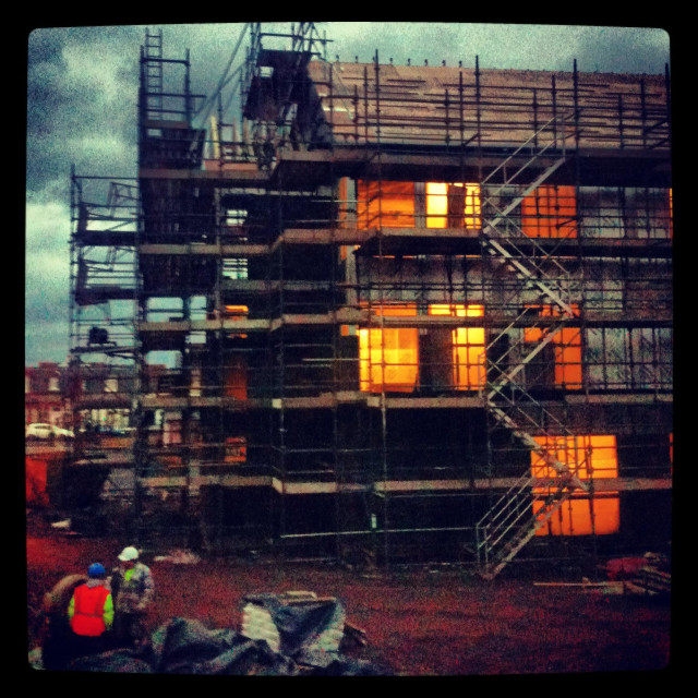 """""""Building site at School extension in early hours of cold Scottish morning"""" stock image"""