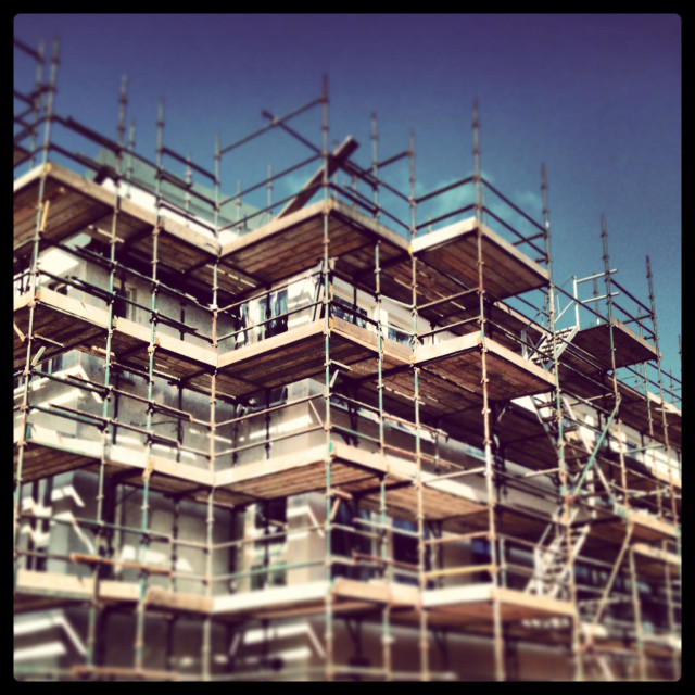 """""""Scaffolding on School extension building site"""" stock image"""