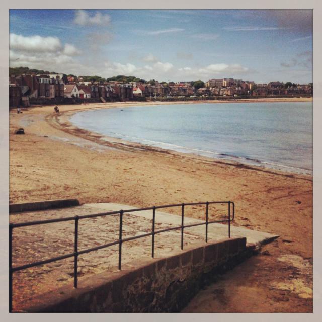 """Sandy beach at North Berwick, Scotland"" stock image"