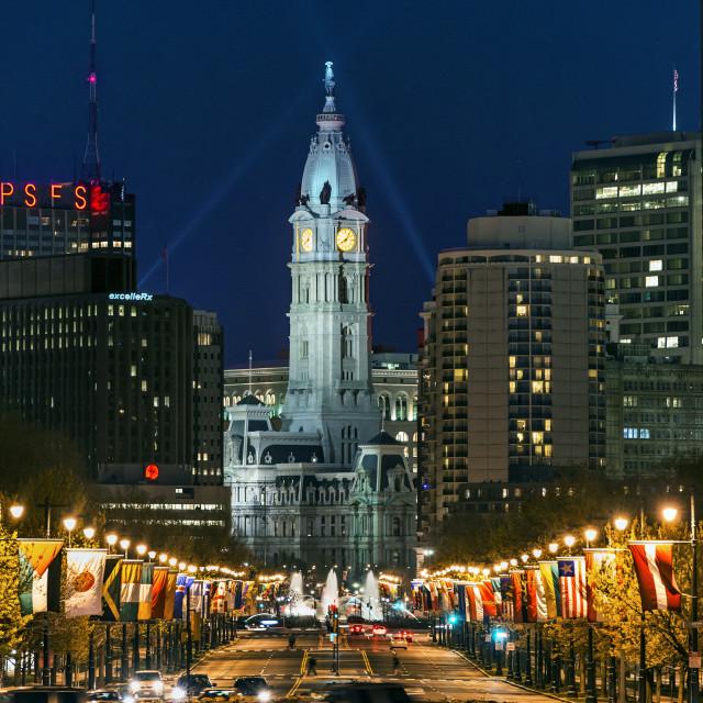 """Ben Franklin Parkway and City Hall, Philadelphia, Pennsylvania, USA"" stock image"