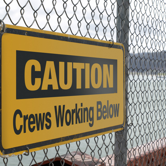 """Caution Below"" stock image"