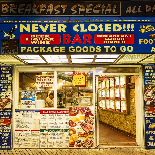 """Greek food joint on boardwalk, Atlantic City, New Jersey, USA"" stock image"