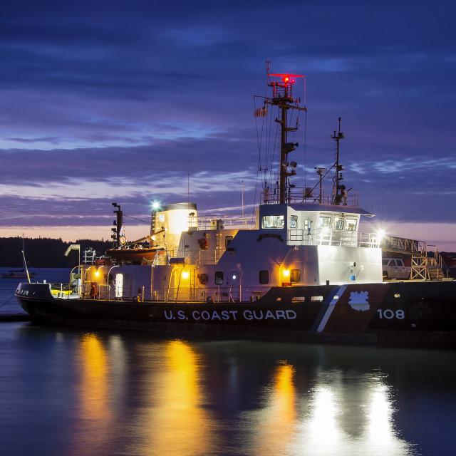 """US Coast Guard cutter, Rockland, Maine, USA"" stock image"