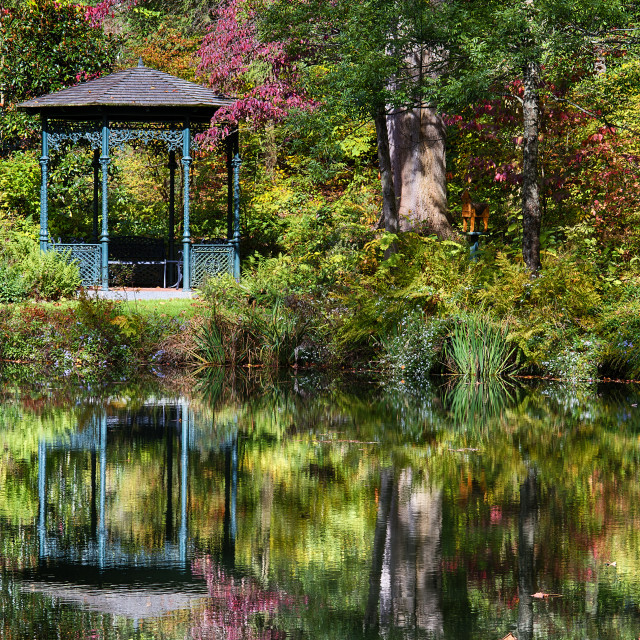 """Autumn gazebo, Mt. Cuba Center , Greenvile, Delaware, USA"" stock image"