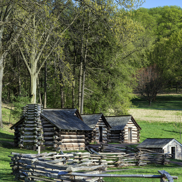 """Cabins, Valley Forge National Historical Park, Pennsylvania, USA"" stock image"