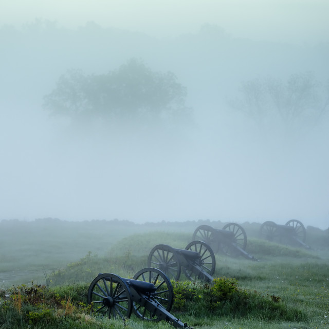 """Cannons on Cemetery Hill battlefield, Gettysburg National Military Park, Pennsylvania, USA"" stock image"