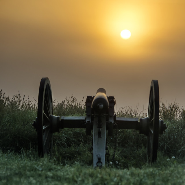 """Cannons on Cemetery Hill battlefield,, Gettysburg National Military Park, Pennsylvania, USA"" stock image"