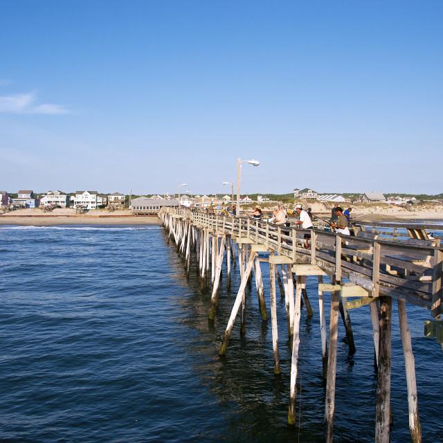 """Fishing pier, Nags Head, Outer Banks, North Carolina, USA"" stock image"