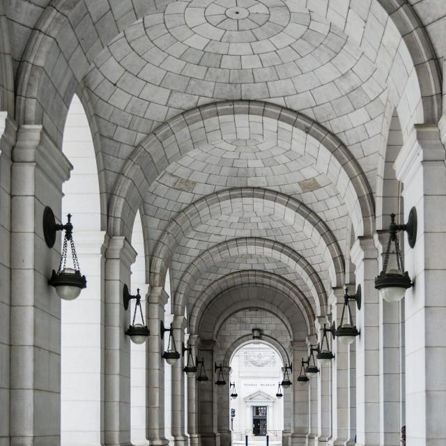 """Portico walkway at Union Station, Washington DC, USA"" stock image"
