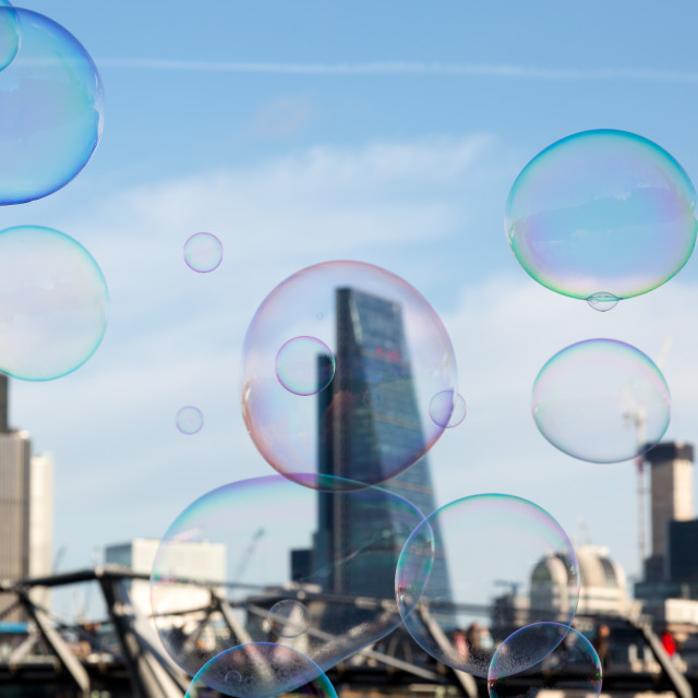 """Soap bubble on City of London background as a metaphor for inves"" stock image"