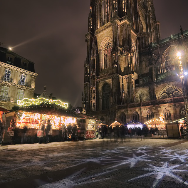 """Christmas Market at Strasbourg Cathedral"" stock image"