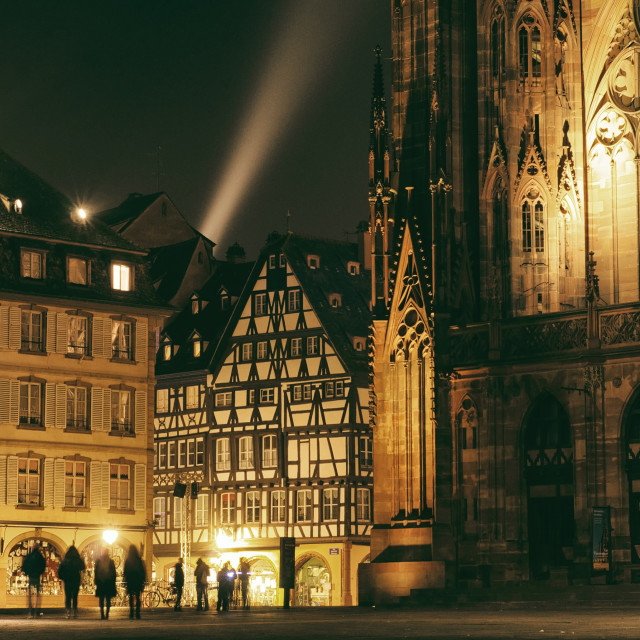 """Strasbourg Cathedral Lit By A Spotlight"" stock image"