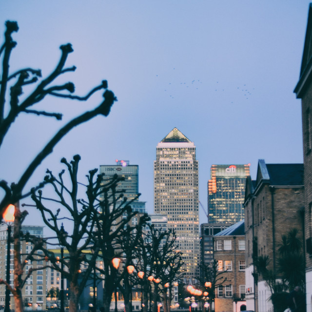 """Canary Wharf and a tree-lined street in Rotherhithe"" stock image"