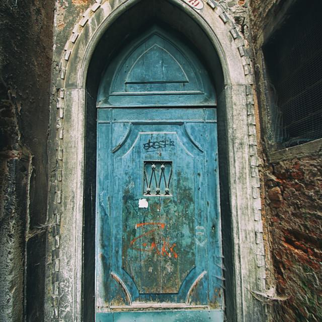 """""""A Blue Door in Venice"""" stock image"""