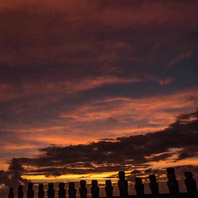 """Sunrise at Ahu Tongariki , Easter Island, Chile."" stock image"
