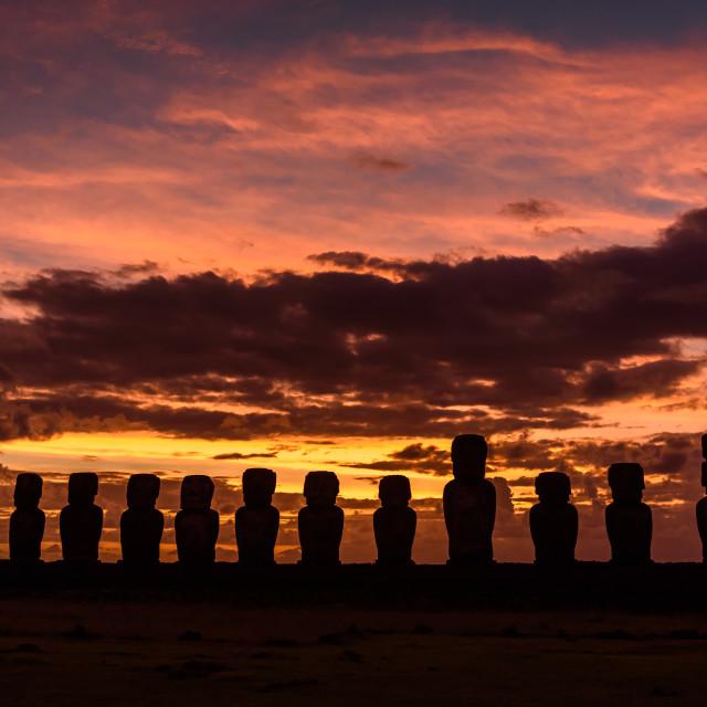 """""""Sunrise at Tongariki , easter Island"""" stock image"""