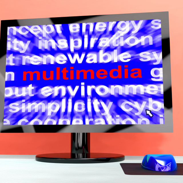 """""""Multimedia Word On Computer Showing Digital Technology For Movies"""" stock image"""