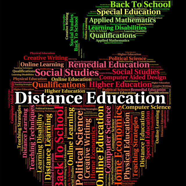 """""""Distance Education Words Shows Correspondence Course And Development"""" stock image"""