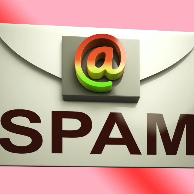 """""""Spam Envelope Shows Unwanted E-mail Message Inbox"""" stock image"""