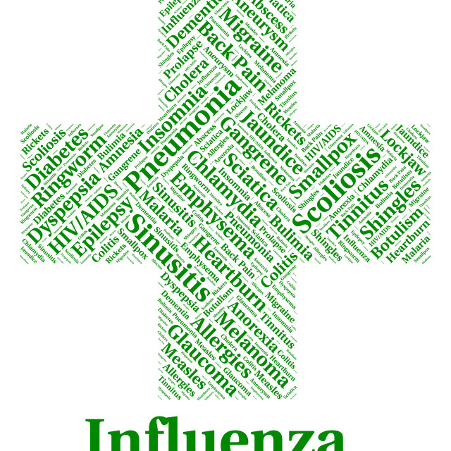 """""""Influenza Sickness Means Poor Health And Afflictions"""" stock image"""