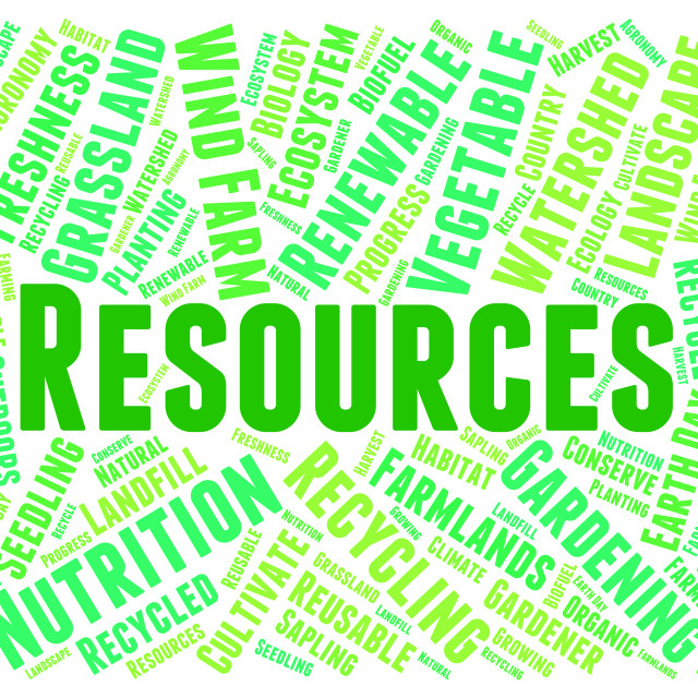 """""""Resources Word Shows Raw Materials And Collateral"""" stock image"""