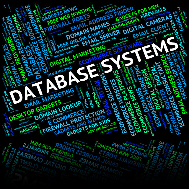 """""""Database Systems Shows Network Computer And Technology"""" stock image"""