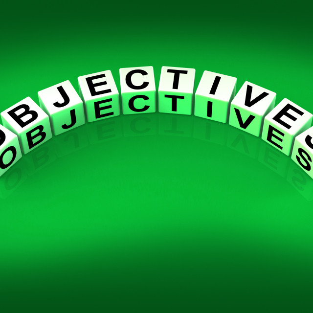 """""""Objectives Blocks Show Motivation Aims and Goals"""" stock image"""