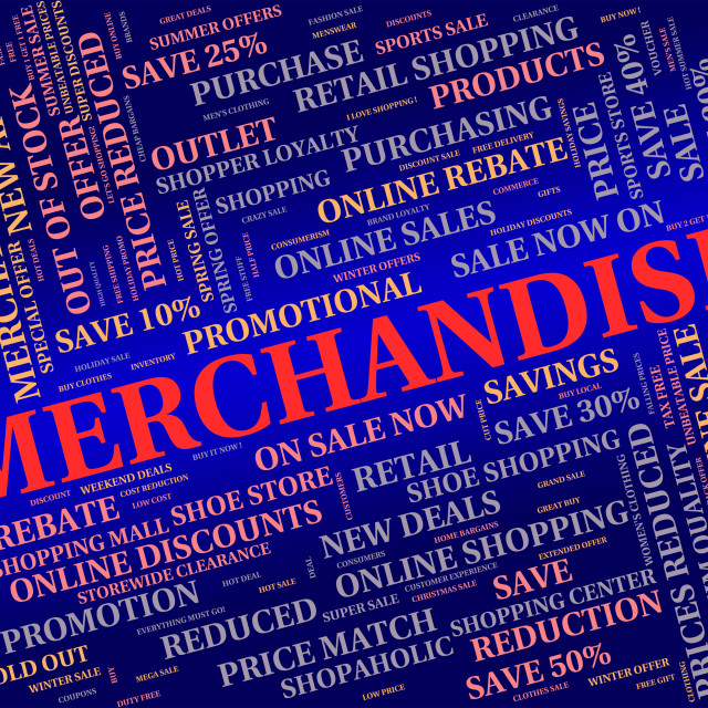 """Merchandise Word Represents Product Wares And Retail"" stock image"