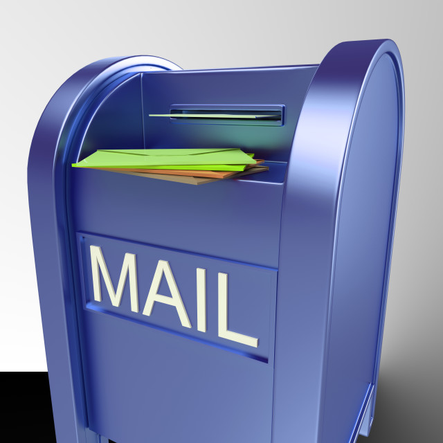 """""""Mail On Mailbox Showing Delivered Correspondence"""" stock image"""