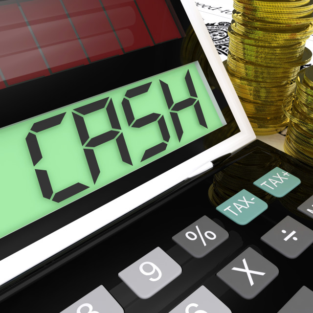 """""""Cash Calculator Shows Money Earning And Spending"""" stock image"""