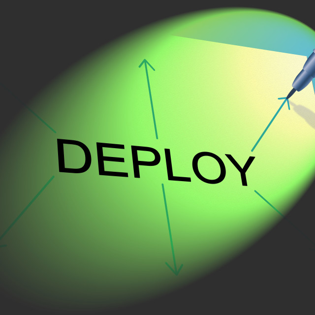"""Deploy Deployment Shows Put Into Position And Install"" stock image"