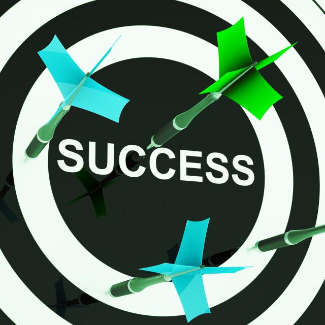 """Success On Dartboard Shows Unsuccessful Goals"" stock image"