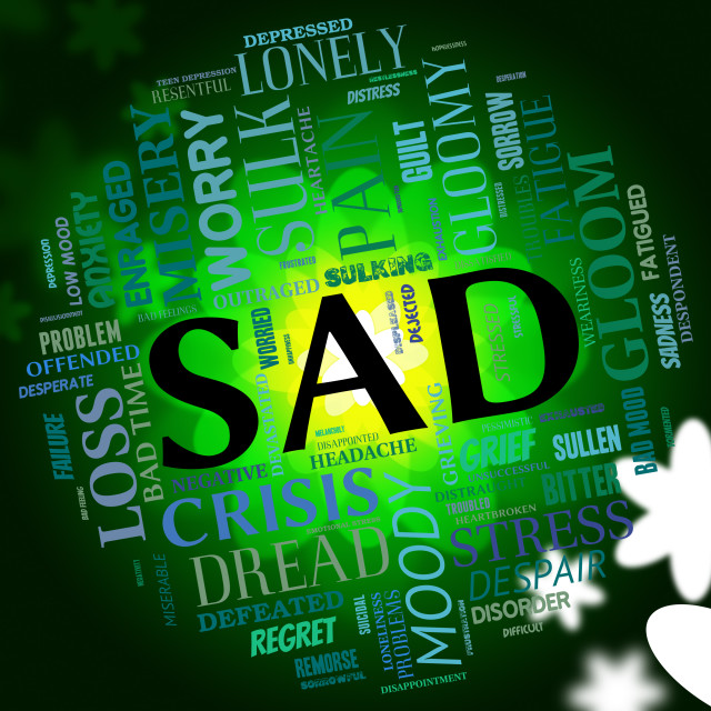 """Sad Word Indicates Grief Stricken And Dejected"" stock image"