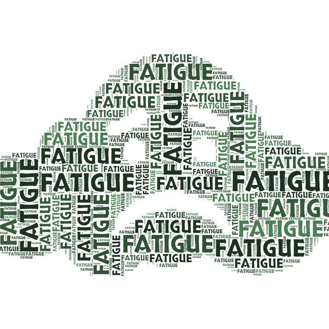 """""""Fatigue Word Shows Lack Of Energy And Drowsiness"""" stock image"""