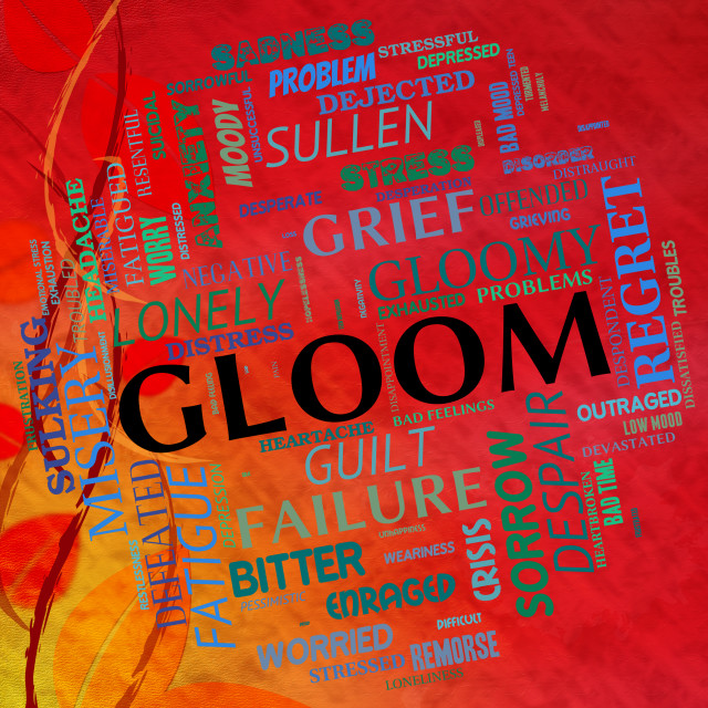 """Gloom Word Shows Glumness Misery And Unhappiness"" stock image"