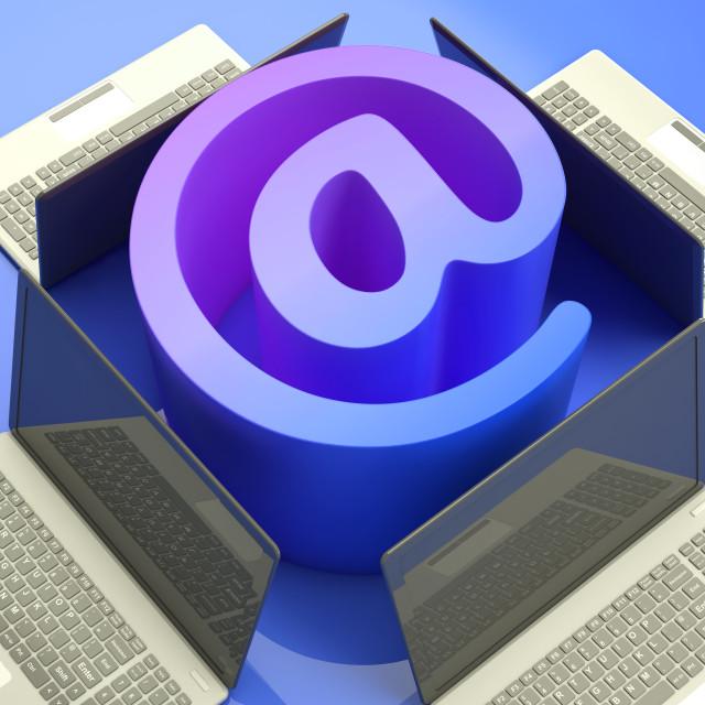 """E-mail Symbol Laptops Shows Mailing on Web"" stock image"