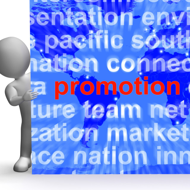 """Promotion Word Cloud Sign Shows Discount Bargain Or Markdown"" stock image"