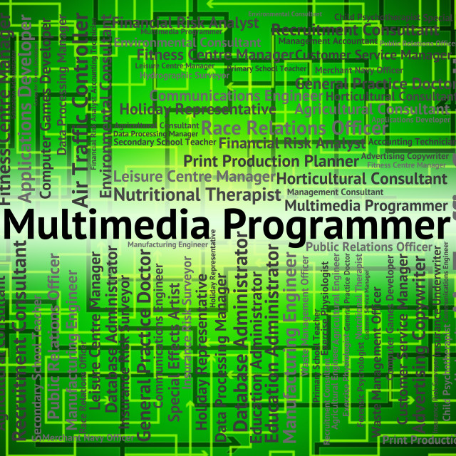 """""""Multimedia Programmer Represents Occupations Programmers And Hiring"""" stock image"""