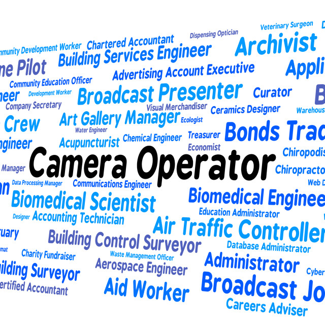 """Camera Operator Indicates Machine Minder And Cameras"" stock image"