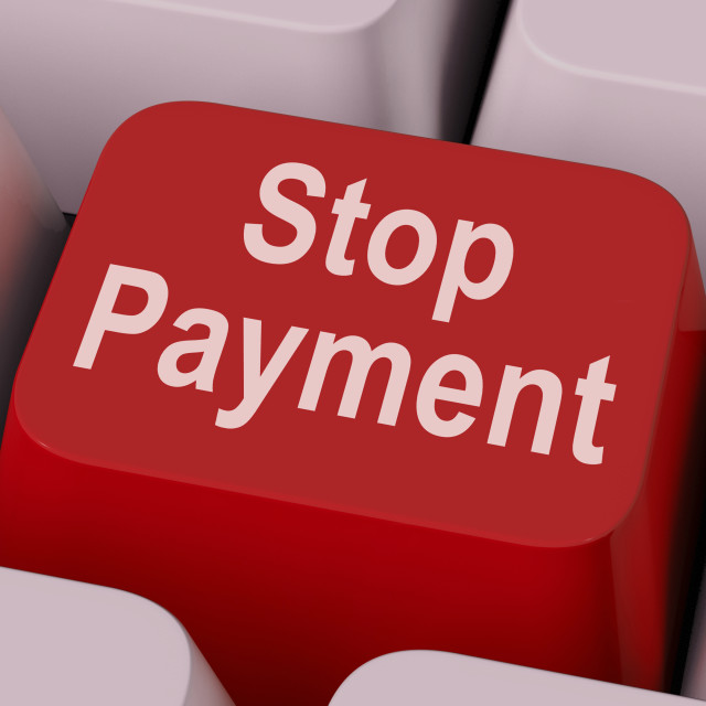 """Stop Payment Key Shows Halt Online Transaction"" stock image"